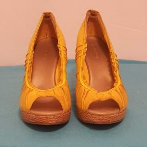 Charlotte Russe Open Toe Wedge Espadrille- Yellow